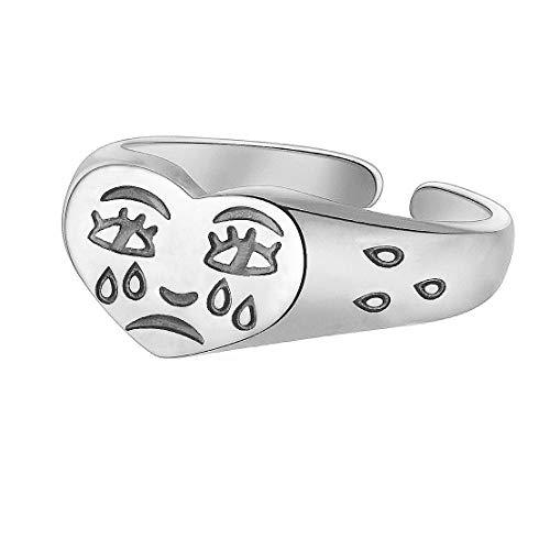 JIAHATE Crying Face Ring,Women Broken Heart Weep Teardrop Fun Cartoon Love Heart Sad Face Ring for Girls,Silver