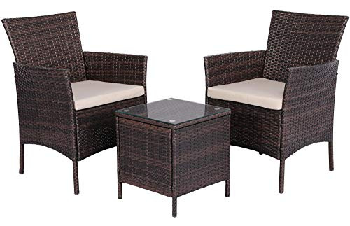 Yaheetech 2 Seater Garden Furniture Sets Corner Patio Sofa Dining Set Rattan Wicker Chairs and Coffee Table with Cushions,Brown
