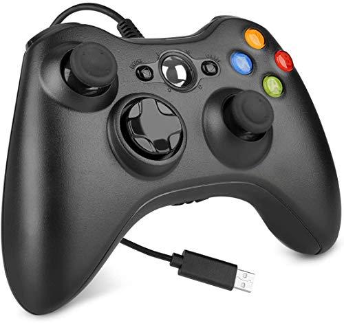Controle com fio para Xbox 360, joystick de controle de jogo com controle de jogo USB para Xbox 360/360 Slim/PC Windows 7,8,10 com vibração dupla e botões de gatilho (Preto)