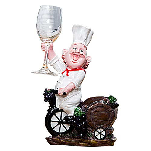 ZLASS Estante de Vino, Chef Resina Soporte de Vino Individual, Tablero Alto Tabletop Un Solo Soporte de Botella de Accesorios de Vino, Usado para Cocina y Barra Decoración Escultura Artesanía, Blanco
