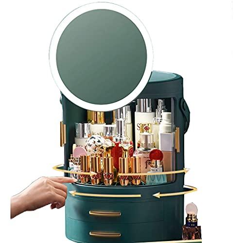YXYH 360 Rotating Makeup Organizer, LED Adjustable Bathroom Makeup Cosmetics Storage Spinning Holder Rack, Large Capacity Cosmetics Storage Box Vanity Shelf