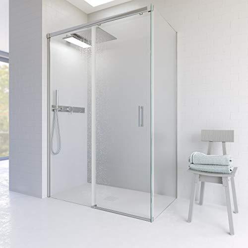 VAROBATH Mampara de ducha rectangular BASIC Cromo angular 2 fijos-1 puerta corredera. Sin perfil inferior. Con tratamiento ANTICAL. Calidad PREMIUM. 100-110 x 68-80. Cromo.