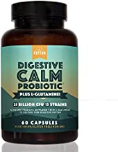 Digestive Calm Probiotic (Plus L-Glutamine) 25 Billion CFU and 13 Strains. - Natural Support for Better Digestion - for Bloating & Constipation + Gas Relief & Leaky Gut - 60 Vegetarian Capsules.