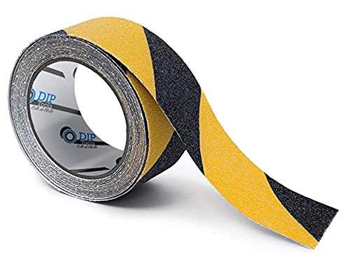 Antirutsch Streifen (50mmx18m), schwarz-gelb, antirutsch aufkleber anti slip grip band rutschhemmendes klebeband grip tape griptape kleber für Treppe Dusche Leiter