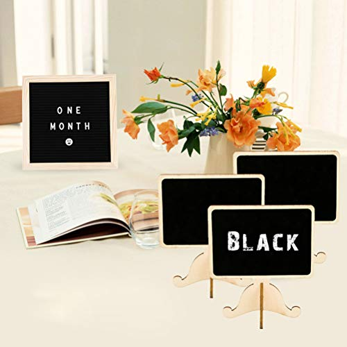40 Pack Mini Chalkboard Signs with Stand Vankcp 5 Different Shapes Mini Message Board Signs and a Chalk Eraser for Table Signs, Food Signs Weddings or Special Occasion Decoration Photo #3