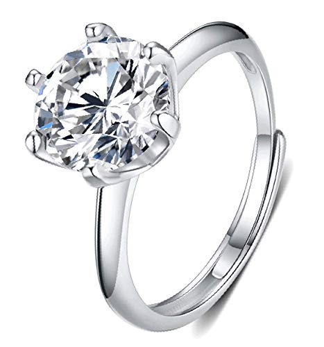 Moissanite Engagement Ring 1CT 18K White Gold Plated Silver DF Color Ideal...