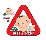 Haberdashery Online Pegatina Adhesiva Bebé a Bordo. Adhesivo vinilo para coche o moto. 15 x 13,7 cm. (2. Niño)