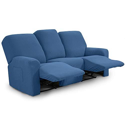 TIANSHU Funda reclinable para sofá de Dos plazas, 8 Piezas para 3 Asientos, Funda reclinable de Jacquard para sofá de 3 Cojines, Funda elástica para sofá(Sillón Relax 3 Plaza, Azul Denim)