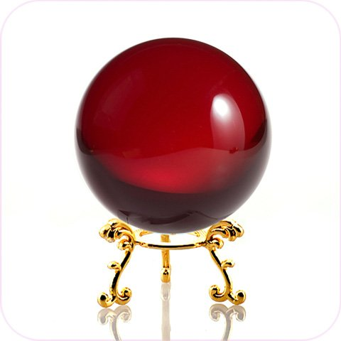 Amlong Crystal Red Crystal Ball 60mm (2.3 inch) Including Golden Flower Stand and Gift Package