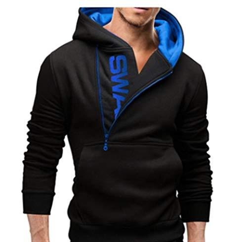 Lässiger Kapuzenpullover, mit Reißverschluss, seitlicher Kollisionsdruck, Farbe: Blau, Größe L