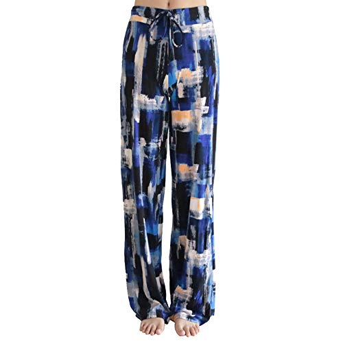 Buttery Soft Pajama Pants for Women – Floral Print Drawstring Casual Palazzo Lounge Pants Wide Leg for All Seasons (XL, Blue Block)