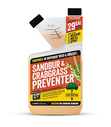 Ike's Sandbur & Crabgrass Preventer | Stop Unwanted Weeds and Grasses Before They Germinate | Easy to Use Pre-Emergent | Convenient Tip and Measure Packaging (Quart)