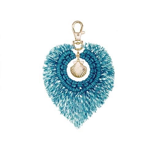 Flybloom Tassel Macrame Shell Keychains for Women Handmade Weave Cotton Thread Key Holder Keyring Car Hanging(Azure Blue)