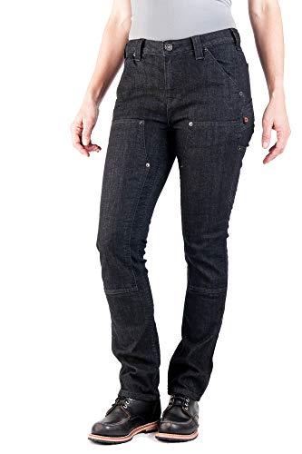 Dovetail Workwear Utility Pants for Women - Maven Slim Fit Stretch Cargo Pant, Black Denim, Size 18,...