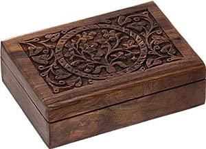 BOX - WOOD FILIGREE TREE OF LIFE 5x7 W/VELVET