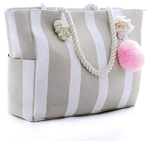 Large Canvas Shoulder Bag - Beach Tote with Cotton Rope Handles and Cute Pompom