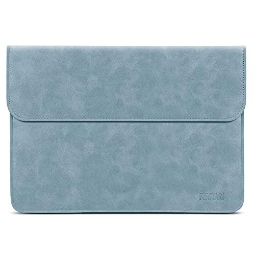 TECOOL 12.3-13 Zoll Laptophülle Tasche MacBook Air Hülle Faux Leder für 2018-2020 MacBook Air 13 M1 A2337/A1932/A2179, 2016-2020 MacBook Pro 13 M1, 12.9 Ipad Pro, Dell XPS 13, Surface Pro X 7,-Blau
