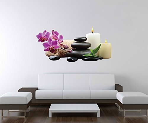 3D Wandtattoo Wellness Steine Orchidee Kerzen Wand Aufkleber Deko Wandbild Wandsticker A3D94, Motiv Breite:60cm