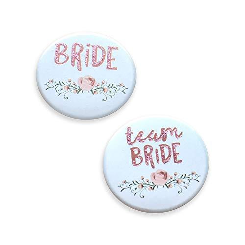 Bride & Team Bride JGA Buttons für Junggesellinnenabschied & Poltern - 11 Stück | JGA Accessoires & Zubehör
