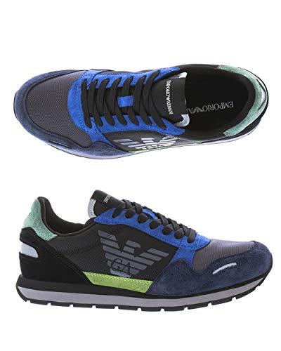 Armani Herren Leder Low Top Sneakers SCHNüR HALB Schuhe BLAU SCHWARZ 43 NP €299 (41)
