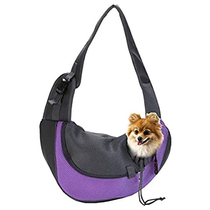 EVBEA Dog Carrier Sling Front Pack Puppy Carrier Purse Breathable Mesh Travel for Small or Medium Pet Dogs Cats Sling Bag 1