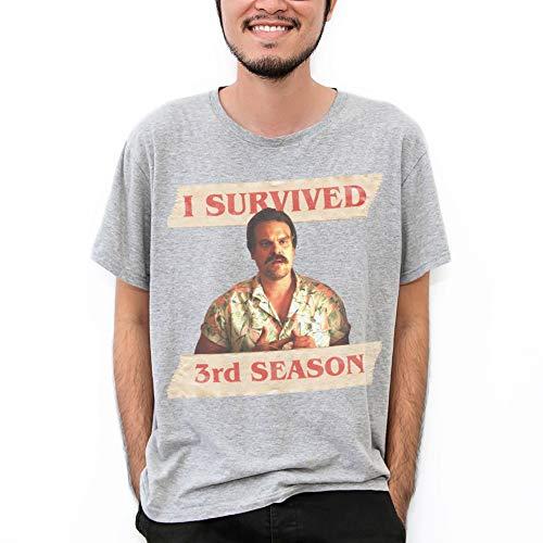 MUSH T-Shirt Grigia Hopper - I Survived 3rd Season - Stranger Things 4 - Serie TV, S-Uomo
