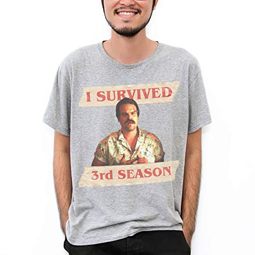 MUSH T-Shirt Grigia Hopper - I Survived 3rd Season - Stranger Things 4 - Serie TV, M-Uomo