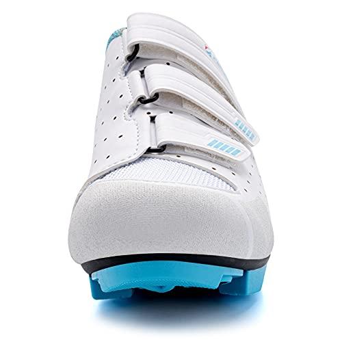 URDAR Zapatillas de Ciclismo Mujer Montaña Zapatillas de Bicicleta Transpirables Cómodos Zapatillas de Ciclismo MTB(Blanco,37.5 EU)