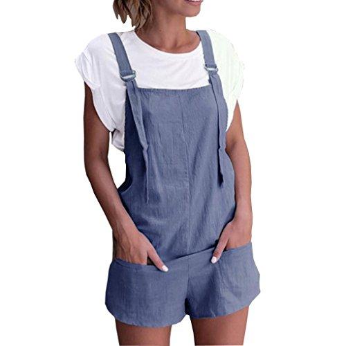 Dragon868 Damen Overall Kurz Elastische Taille Latzhosen Leinen Baumwolle Taschen Strampler Playsuit Shorts Hosen (Blau, L)