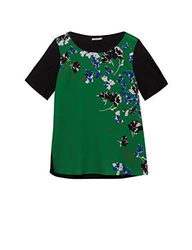 Elena Mirò : T-Shirt in Due Tessuti con Stampa Verde S (Italian Size)