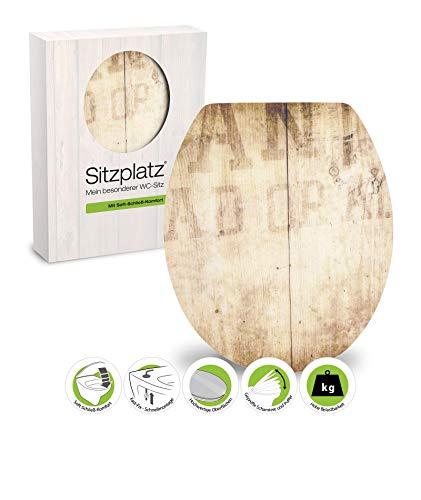 SITZPLATZ - 40191 3 - WC-Sitz High-Gloss - Dekor Wanted - WC Brille mit Absenkautomatik - Toilettensitz mit Holz-Kern & Fast-Fix Schnellbefestigung