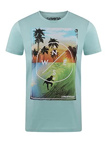 riverso Herren T-Shirt RIVLukas Fotodruck Rundhals O-Neck Kurzarm Shirt Regular Baumwolle Grün Blau Weiß Grau Gelb Türkis S M L XL XXL 3XL 4XL 5XL, Größe:L, Farbe:Türkis (LJD)