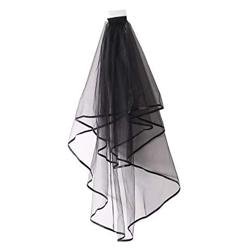 Frcolor Schwarzer Bandrand Brauthochzeitsschleier mit Kammfrauenschleierhochzeitszubehör