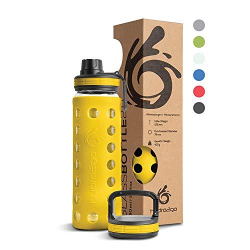 Hydro2Go Borraccia Vetro con Copertura in Silicone 550 ml - Lavabile in lavastoviglie | 2 coperchi intercambiabili | 100% a Tenuta stagna