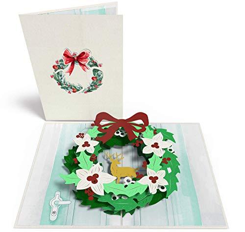 Kerstkaart adventskrans met kerstster & hert, 3D pop-up kaart met envelop, bijv als cadeaukaart of verpakking voor geldgeschenk & voucher voor Kerstmis, cadeaukaart, Merry Xmas