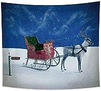 ファッションタペストリークリスマスホワイトスレイディア雪原降雪モダンな壁掛けホームリビングルーム寝室の装飾150cmX130cm