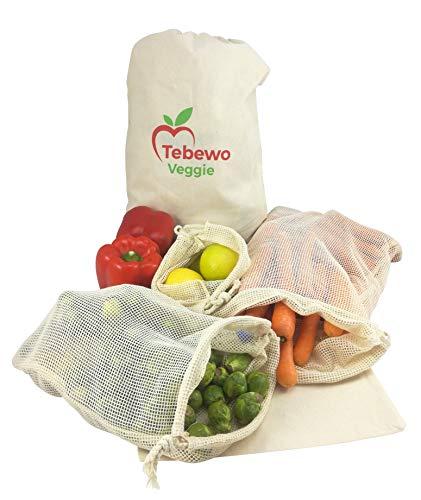 Tebewo Veggie 10 Wiederverwendbare Obst-Gemüse-Brot-Beutel aus Wolle mit doppeltem Kordelzug und Tara für Zero-Waste Shopping. Umweltfreundliche Einkaufstaschen. Waschbar, langlebig, robust.