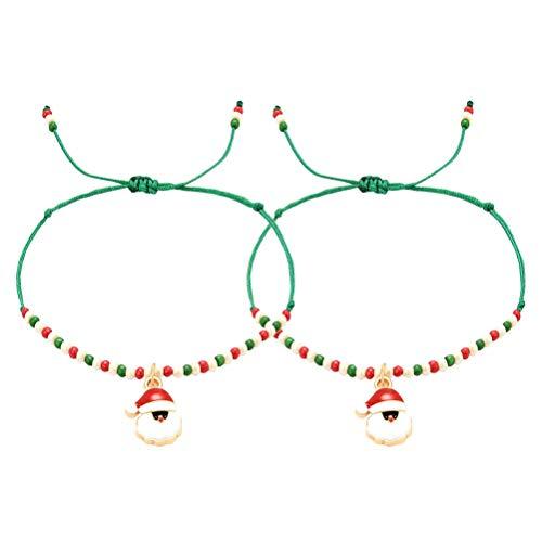2PCS Navidad Santa Claus Charm Chain Pulsera tejida hecha a mano Brazalete conjunto de brazaletes para mujeres Fiesta Festival Regalos de Navidad