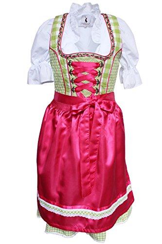 Alpenmärchen, 3tlg. Dirndl-Set - Trachtenkleid, Bluse, Schürze, Gr.48, grün-Fuchsia, ALM3068