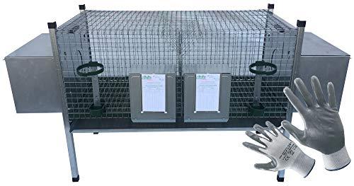 Montidistribuzione Gabbia Conigli 2 Fattrici Sovrapponibile. Conigliera con Omaggio Guanti da Lavoro NBR