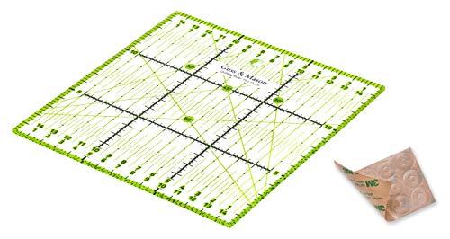 Guss & Mason Patchwork Lineal 15x15 cm mit gratis Anti Rutsch Aufklebern. Transparentes Universal Lineal mit cm und Winkel-Maßen