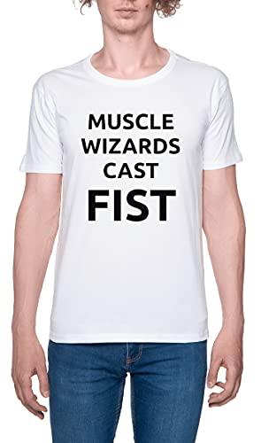 Muscle Wizards Cast Fist Camiseta para Hombre Blanca De Manga Corta Ligera Informal con Cuello Redondo Men's Tshirt White