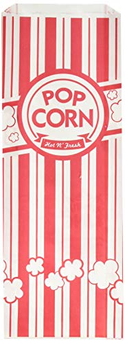 URPARTY Paper Popcorn Bags, 2 oz, Red & White, 200 Piece