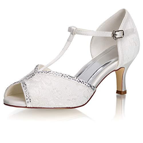 JIAJIA 37805 - Zapatos de Novia para Mujer, Puntera Abierta, 2.6 Pulgadas,...