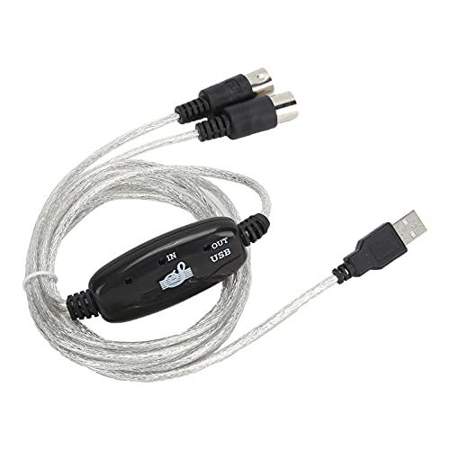 Universele MIDI-naar-USB-kabel voor Toetsenbord en Synthesizers, 5-pins MIDI-interfacekabel met Invoer- en…