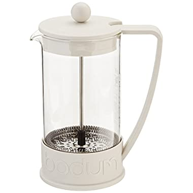 Bodum Brazil French Press Coffee Maker, 34 Ounce, 1 Liter (8 Cup), Off-white