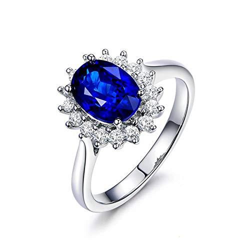 Bishilin Weißgold Ring 750 18Karat Halo Oval Saphir 1.01ct Hochzeit Ringe Verlobung mit Diamant 49 (15.6)