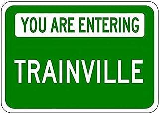 Shimeier Parking Sign You are Entering TRAINVILLE – personalizzato treno lastname vintag decorazione sala da pranzo cucina...
