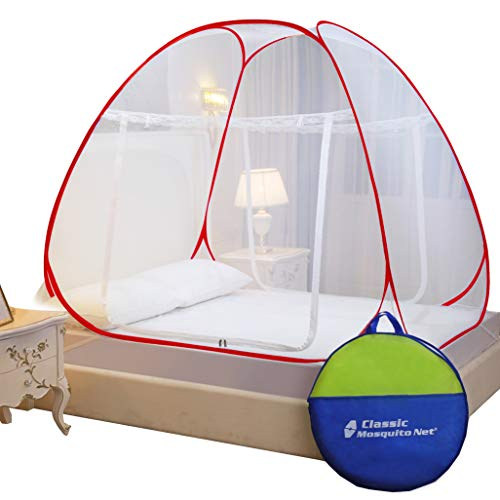 Classic Mosquito Net, Polyester, Foldable for Double Bed - Queen Size, Red