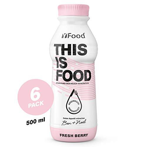 YFood Beere | Laktose- und glutenfreier Nahrungsersatz | 34g Protein, 26 Vitamine und Mineralstoffe | Leckere Astronautennahrung - 25% des Kalorienbedarfs | Trinkmahlzeit, 6 x 500 ml (1 kcal/ml)